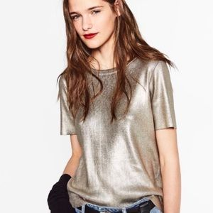 Zara Knit Gold Metallic Ribbed Top Size Small